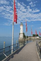 Germany, Bavaria, View of Lindau port with lighthouse - ELF000365