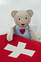 Germany, Bavaria, Teddy bear with hot water bottle on bed - CRF002459