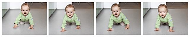 Germany, Kiel, baby girl crawling - JFE000163