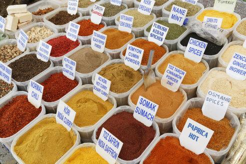 Turkey, Fethiye, Spices at market - SIE004312