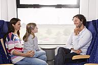 Germany, Brandenburg, Family traveling in train, smiling - KFF000214