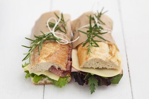 Baguette sandwiches with rosmary on white wood boards - ECF000342