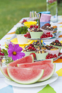 Table in garden on a birthday party - NHF001468