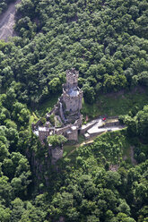 Germany, Rhineland-Palatinate, Niederheimbach, View of Sooneck Castle, aerial photo - CS019983
