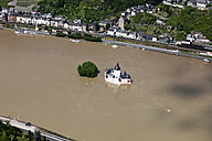 Germany, Rhineland-Palatinate, Kaub, View of Pfalzgrafenstein Castle at high water, aerial photo - CS019984