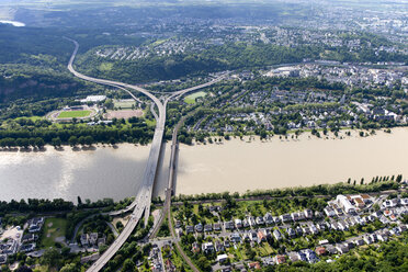 Germany, Rhineland-Palatinate, Koblenz, Bridges above River Rhine, aerial photo - CSF019993