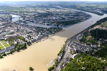 Germany, Rhineland-Palatinate, confluence of River Rhine and Moselle at Koblenz, aerial photo - CSF019995