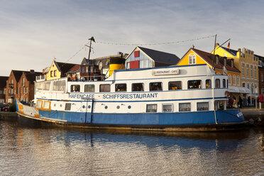 Germany, Husum, ship restaurant at harbour - WI000050
