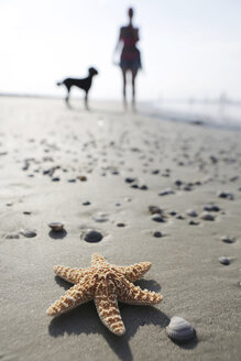 Germany, Lower Saxony, East Frisia, Langeoog, sea star and silhouette of a woman and her dog at the beach - JATF000326