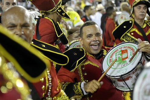 Brasil, Rio de Janeiro, Carnival, Drummer of Academicos do Grande Rio Samba school - FLK000009