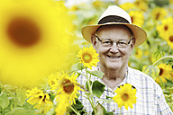 Germany, Cologne, senior with sunflowers - JATF000357