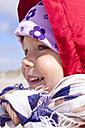 Denmark, Ringkoebing, smiling little girl - JFEF000196