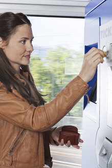 Woman at ticket machine in a train - KFF000225