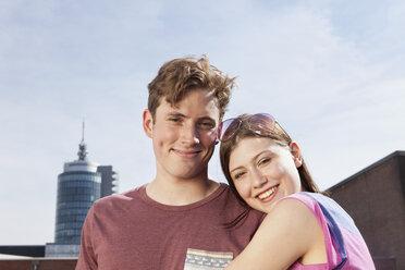 Germany, Bavaria, Munich, Smiling couple outdooors - RBF001358