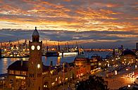 Germany, Hamburg, St. Pauli with harbor in the evening - ALEF000075