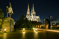 Germany, North Rhine Westphalia, Cologne, Cologne Cathedral by night - ODF000539