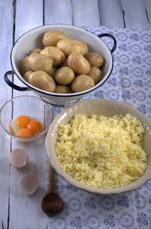 Ingredients of potato dumplings, studio shot - ODF000546