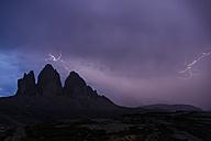 Italy, Dolomites, Tre Cime di Lavaredo during thunderstorm - PAF000028