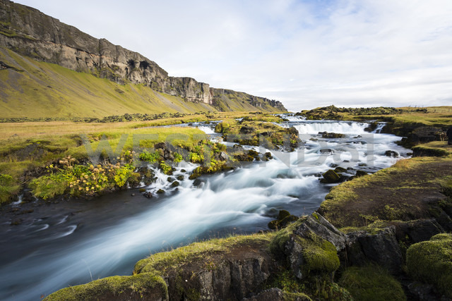 Iceland, Sudurland, Ring road with waterfall - STSF000171