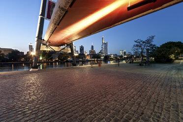 Germany, Hesse, Frankfurt, part of footbridge and city skyline - AMF000963