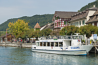 Switzerland, Schaffhausen, Lake Constance, Motorship at shore of Stein am Rhein - SH000864