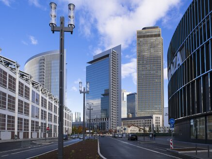 Germany, Hesse, Frankfurt, European Quarter, View of Tower 185 with Commerzbank and Pollux Tower - AMF001036