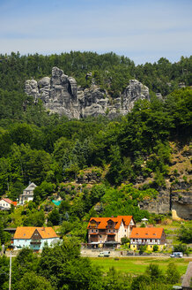 Germany, Saxony, Rathen, Houses and Elbe Sandstone Mountains - BTF000122