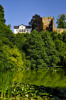 Germany, Saxony, Tharandt, Ruin of castle Oberburg at castle pond - BTF000155