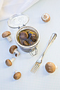 Fresh and pickled brown mushrooms (Agaricus), studio shot - LVF000297