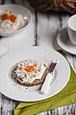 German dark multi-grain bread with cream cheese and carrots, cup of coffee - SBDF000327