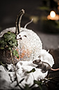 Halloween decoration, glittering pumpkin with two toy mices - SBDF000331