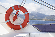 Italy, Sardinia, Lifesaver on yacht, close up - PDF000585