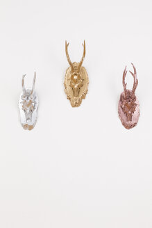 Three antlers varnished in gold, silver and bronze, studio shot - DRF000275