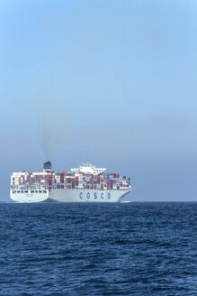 Spain, Andalusia, Tarifa, Cargo ship on the Strait of Gibraltar - KB000042