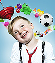 Little boy with flying toys around his head, Composite - STKF000505