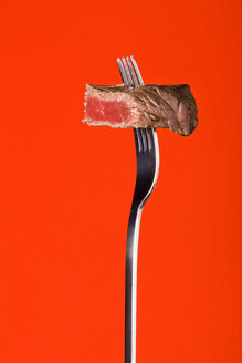 Skewered piece of fried meat, studio shot - WSF000015