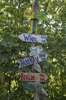 German signpost with capital cities - AXF000536