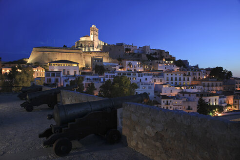 Spain, Ibiza, Ibiza City, Cathedral with old town - OLE000001