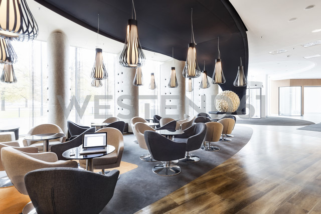 Poland, Warsaw, lounge at hotel - MLF000192