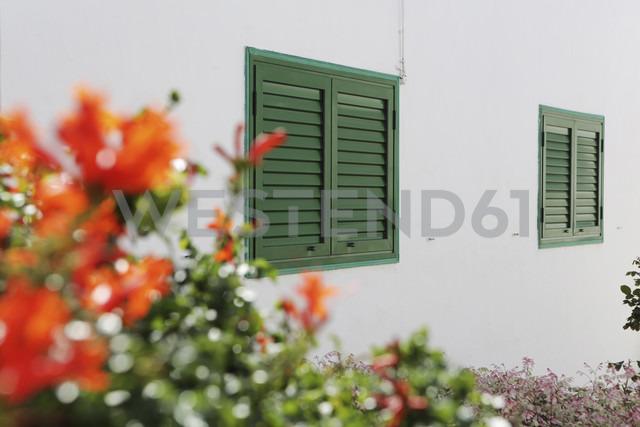 Spain, Lanzarote, Puerto del Carmen, Green shutters on house front - JAT000468