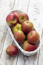 Apples (Malus) in white basket on wooden table - CSF020347