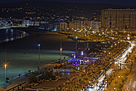 Africa, Morocco, Tanger, Tanger-Tetouan, Avenue Mohammed VI and beach of Tanger-Asila by night - GF000311