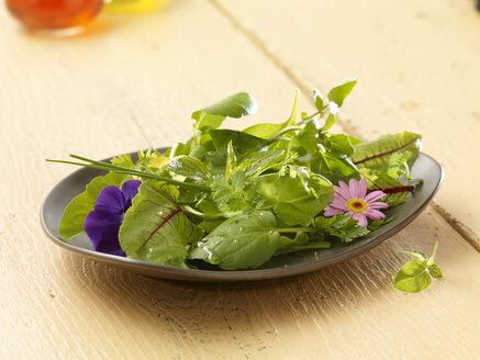 Wild-herb salad on wooden table - SRSF000414