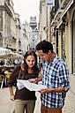 Portugal, Lisboa, Baixa, Rua Santa Justa, Elevador Santa Justa, young couple with city map - BIF000005
