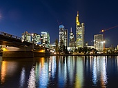 Germany, Hesse, Frankfurt, skyline with financal district at night - AMF001316