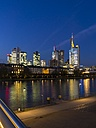 Germany, Hesse, Frankfurt, view to skyline with financal district at dusk - AMF001309