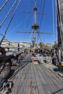Italy, Genoa, old harbour, Porto Antico, replica of a galleon - AM001390