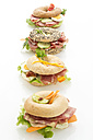 Four different bagels garnished with salami, slices of bacon, rocket salad, tomato, lettuce, cucumber carrot, egg, cream cheese and cress and parsley - MAEF007489