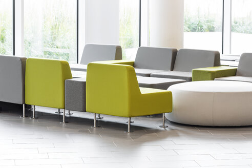 Poland, Warsaw, seating furniture at lounge of hotel - MLF000203