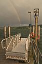 Germany, Baden-Wurttenberg, Reichenau Island, Rainbow over Mittelzell hythe - SH001060